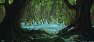 Enchanted Pool in the Forest by behindspace99