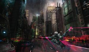 Cyberpunk Rider by behindspace99