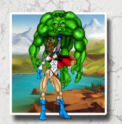 Powergirl Hoisting Hulk by Toadman005