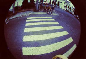 fisheye : cross the street by syalalla