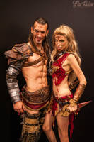 Saxa and Gannicus by MissHatred and Leon Chiro by JessicaMissHatred