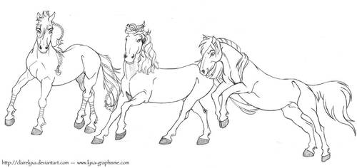 Sketch - Horses - Marony, Plumeau and Podoreso by ClaireLyxa