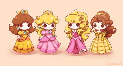 Daisy, Peach, Aurora and Belle by Koki-arts