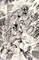 the Mighty AVENGERS inkwashed by gammaknight