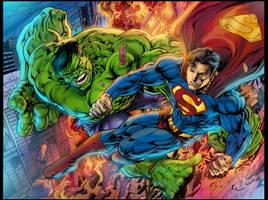 Hulk vs Superman by gammaknight