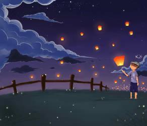 Night With Fireflies And  Sky Lantern by SilverCrow171