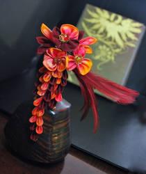 Phoenix Kanzashi. Original Art by hanatsukuri