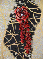 Tsubaki Kanzashi. Red kimono fabric hair clip. by hanatsukuri
