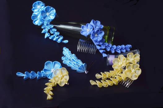 My fair lady...a blue spring pastel party kanzashi by hanatsukuri