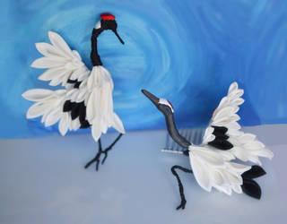 Dancing Cranes: silk kanzashi tsumami zaiku combs. by hanatsukuri