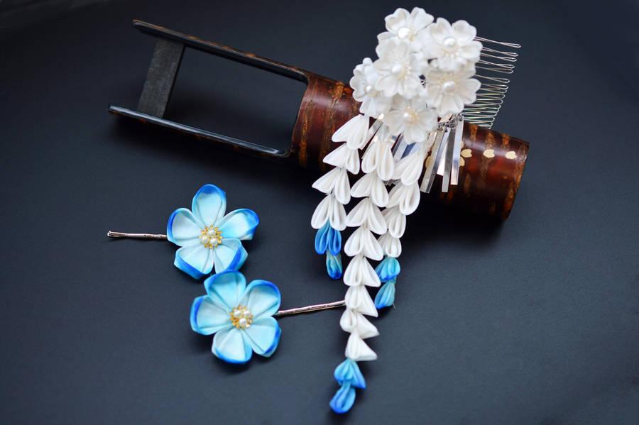 Something Blue. Handmade silk Sakura Kanzashi. by hanatsukuri