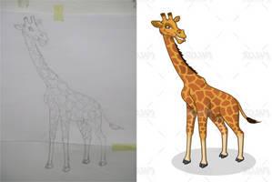 Giraffe Cartoon Sketch to Vector by RIDJAM