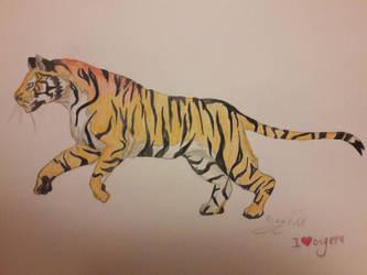 Running Tiger by RyuuDraws