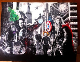 The Avengers assemble by JeezyJones