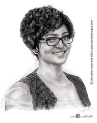 Actress parvathy menon - Realistic Pencil drawing by sinjith