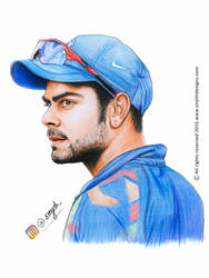 Virat kohli - Realistic Colored Pencil Drawing by sinjith