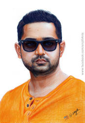 Asif Ali - Colored pencil drawing by sinjith