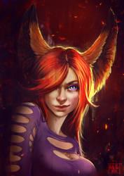 Commissions. Fox portrait by Kate-FoX