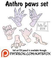 Anthro paws set by Kate-FoX