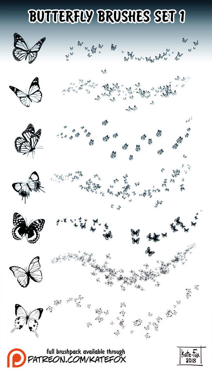 Butterfly Brushes 1 by Kate-FoX