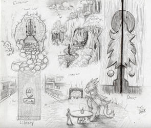 The Dragon's Library Concept Sketches by JcArtSpace