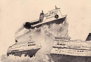 Ferries of Britain unite by drawingsbycharlotte