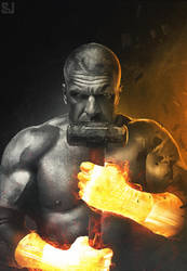 Triple H - iron fist by Sjstyles316