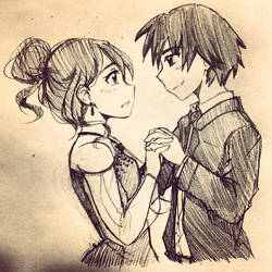 Yumato x Mitsuko sketch by Roxy12333