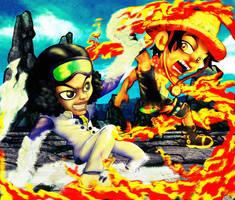Aokiji and Ace by diamantestudio