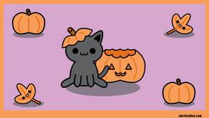 Halloween Kitty Wallpaper by brandimillerart