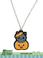 Halloween Kitty Necklace by brandimillerart