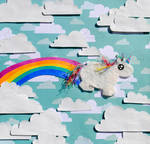 Chubby Unicorn Farts Rainbows by brandimillerart