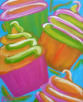 Colorful Cupcakes by brandimillerart