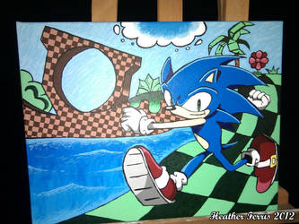 Sonic the Hedgehog Acrylic Painting by Heather-Ferris