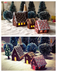 Polymer clay Gingerbread houses with lights by Almadejonge