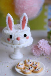 1:12 scale Easter bunny coconut cake and cookies by Almadejonge