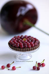 1:12 scale Cherry and Chocolate Tart by Almadejonge