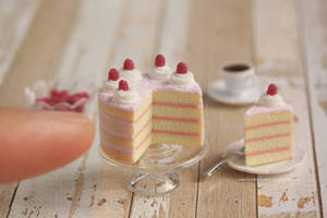 1:12 scale Raspberry Naked Cake by Almadejonge