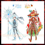 Wizard Adopts - Auction OPEN - Christmas themed by Kemikeni