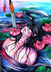 red water lilies by RudeOwl