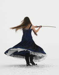 Blue Dress and Sword 08 by Lynnwest-Stock