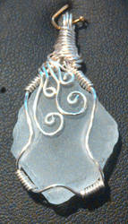 Man-Made 'Sea Glass' Wire-Wrapped  Pendant by Kallamoon