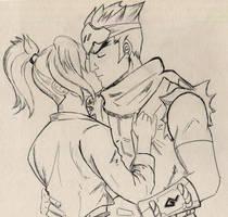 Overwatch: Genji x Mercy, kissing by Faefix