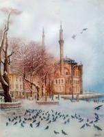 Snowfall in Ortakoy by rougealizarine