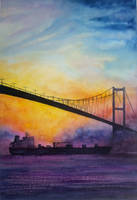 Bosphorus bridge at sunset by rougealizarine
