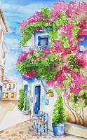 House with bougainvillea by rougealizarine