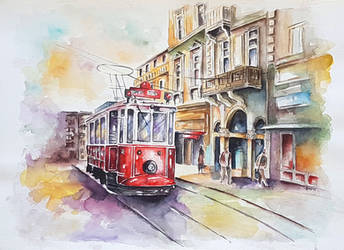 Historic tram on Istiklal Avenue by rougealizarine