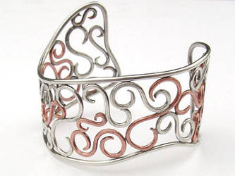 Silver and Copper Scroll Cuff by MarieCristine