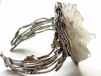 Quartz Cluster Cuff Bracelet by MarieCristine