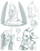 Asriel doodles by OceanHasAPen